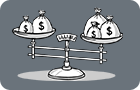 Why choose AustralianSuper? Scales with bags of money illustration on grey background